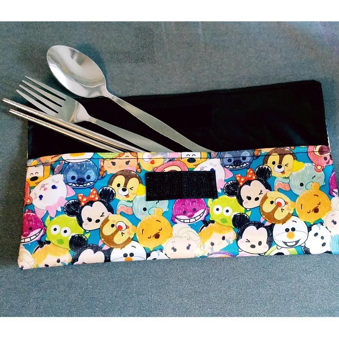 San-x Sumikko gurashi 角落生物  餐具袋  飲管 收納袋  防水尼龍料+防水裡, 快速乾. 只出售袋不連餐具(包郵)