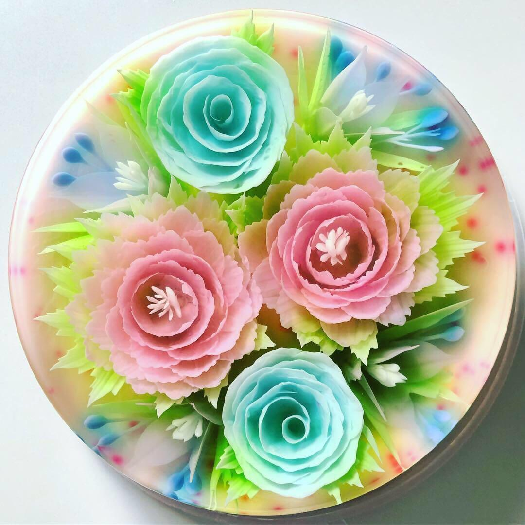 Specially Crafted 3d Flower Jelly Birthday Cake Food Drinks Baked Goods On Carousell