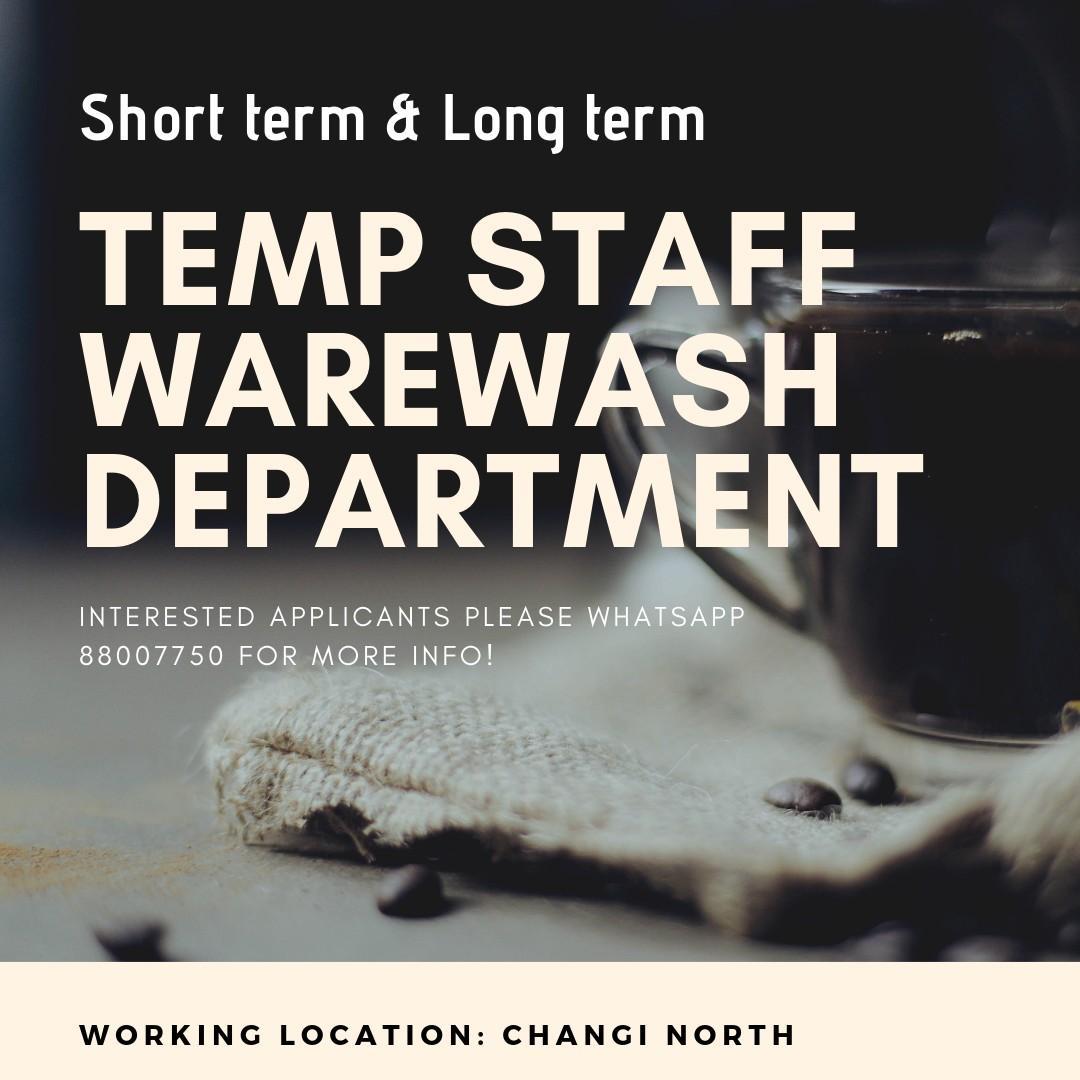 Temp Staff (Warewash Dep) - up to $1,500 | Changi North