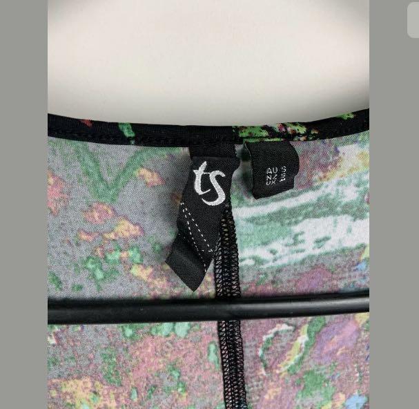 TS Taking Shape S/16 multicolour midi dress artwear lagenlook plus size stretch