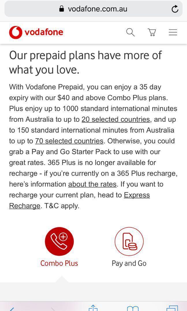 Vodafone prepaid SIM card new Australia 20gb, Travel, Travel