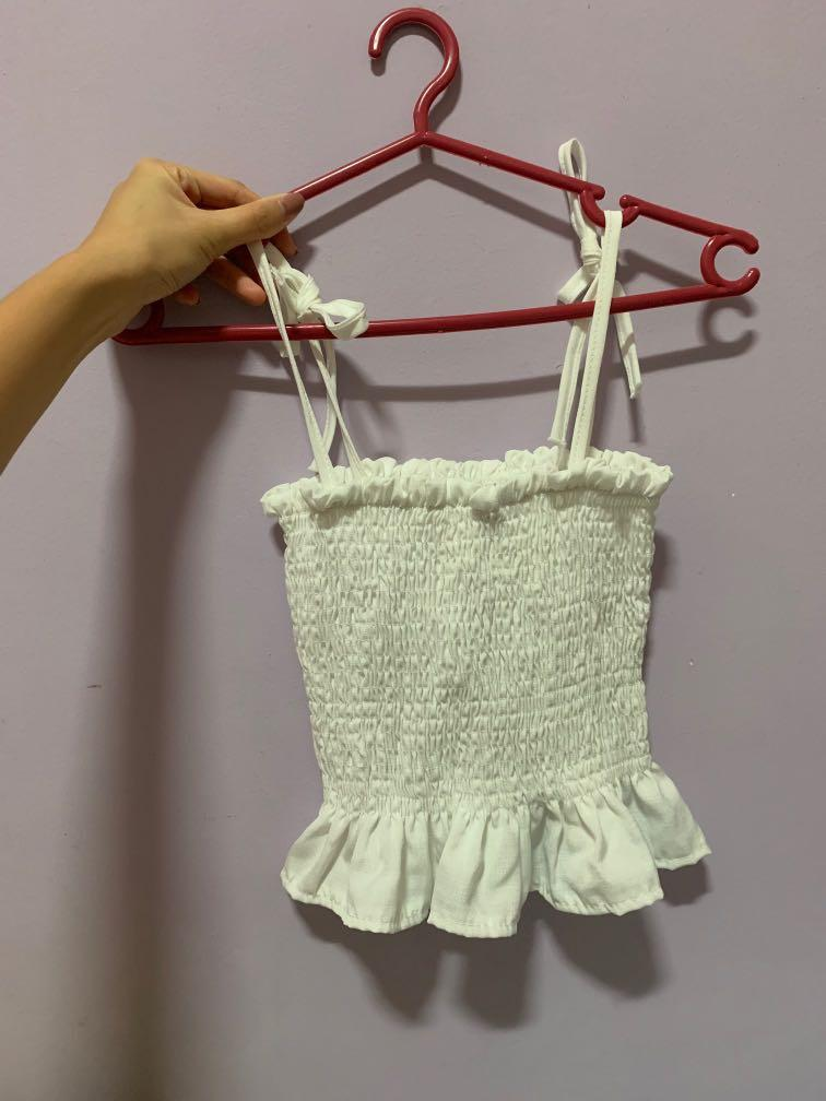 white tube top stretchable crop