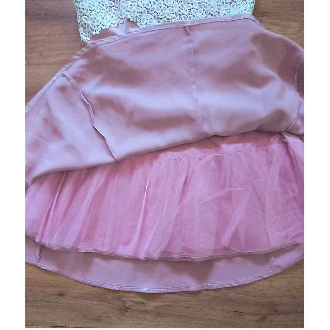 Womens Pink and White Lace Formal Evening Party Dress - Size 10