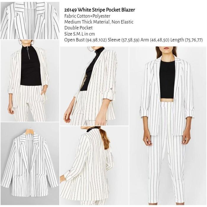 WST 26149 White Stripe Pocket Blazer