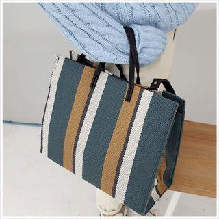 全新🌸條紋購物袋(綠黃)