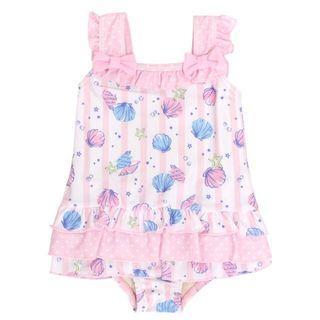 【購自日本】全新可愛蝴蝶結貝殻BB泳衣 女 粉紅 夏 baby swimsuit
