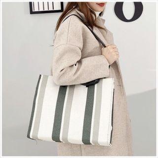 全新🌸條紋購物袋(綠白)