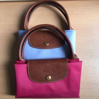 Longchamp Bag 淺藍 桃紅 短柄 M size