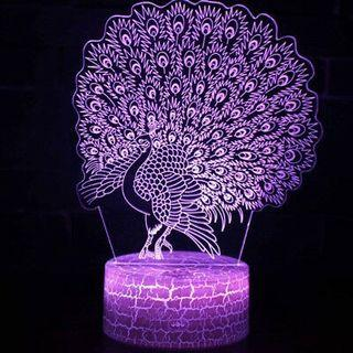 Colorful Majestic Peacock Shape 3D LED Table Lamp Touch Switch USB Charging Night Light