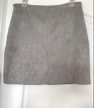 Misguided Suede Light Grey Skirt