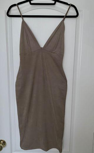 Mendocino Taupe Suede Body Con Midi Length Dress