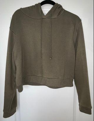 Army/Olive Green Cropped Hoodie Sweater