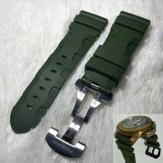 Panerai Aftermarket 26mm Logo Green Rubber Strap with Deployant Clasp