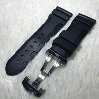 🚚 Panerai Aftermarket 26mm Logo Black Rubber Strap with Deployant Clasp