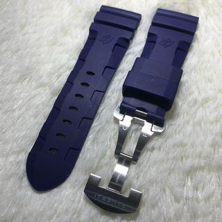 Panerai Aftermarket 26mm Logo Navy Rubber Strap with Deployant Clasp