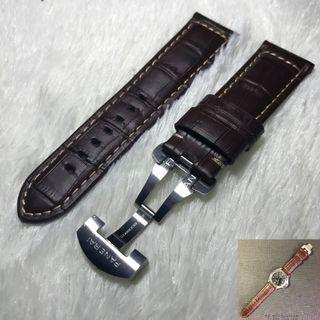 """Panerai Aftermarket Dark Brown """"Crocs Embossed"""" Calf Leather Strap with Deployant"""