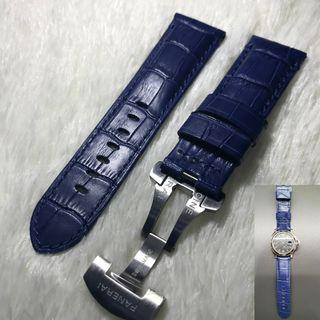 """Panerai Aftermarket Blue """"Crocs Embossed"""" Calf Leather Strap with Deployant"""