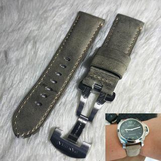 Panerai Aftermarket Distressed Greyish Calf Leather Strap with Deployant
