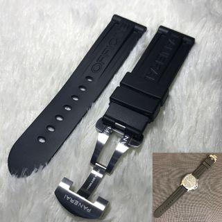 Panerai Aftermarket 24mm Logo Black Rubber Strap with Deployant Clasp