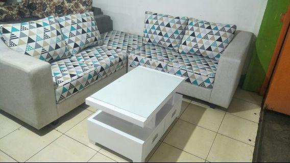 Sofa l sudut minimalis + meja tamu