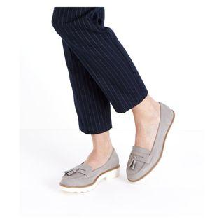 New Look Grey Suedette Tassel Chunky Loafers