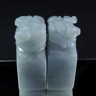 珍珠林~僅此一組~A貨緬甸翡翠俏色貔貅印材.公母一對.也可當擺件玉佩掛件 #837