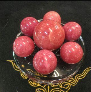 菱錳礦紅紋石水晶球七星陣