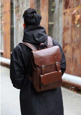 Leather Backpack (Dark Brown)