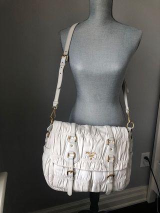 Prada Vintage Nappa Gaufre White Lambskin Flap Bag