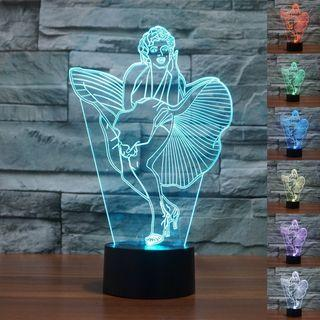 New LED Cool Multicolor Marilyn Monroe 3D Lamp Creative Night Lights Novelty USB Home Decoration Table Lamp Christmas Gift