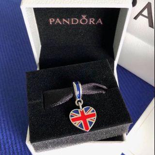 PANDORA Charm Great Britain Heart Flag Pendant Charm