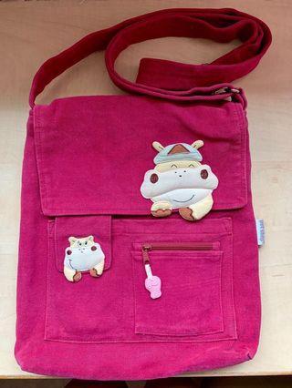 Pet Shop 100% Cotton Moo Moo Zipped Magenta Sling Bag / Messenger Bag