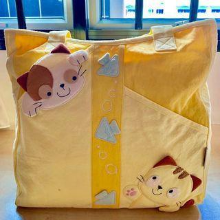 Pet Shop 100% Cotton Zipped Kitty Yellow Tote Bag / Shoulder Bag