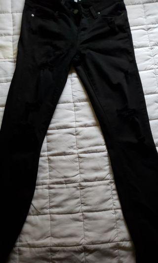 PAIGE BLACK RIPPED Mid Rise Jeans