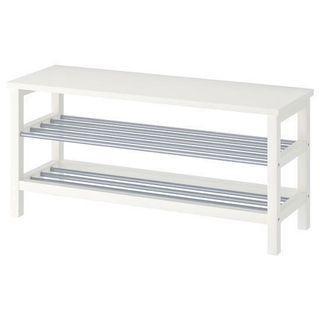 IKEA TJUSIG Bench with Shoe Storage - White