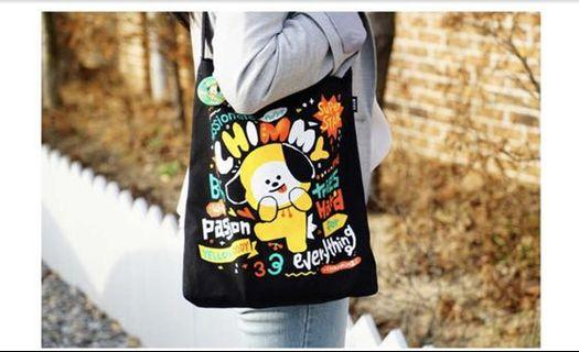 In stock! BT21 CHIMMY BLACK ECO BAG TOTE