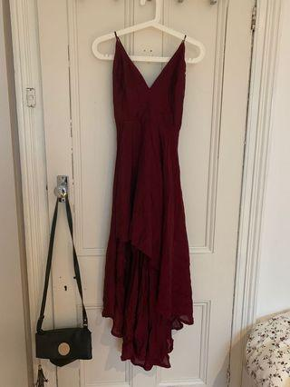 Make You Smile Dress in Wine (Showpo)