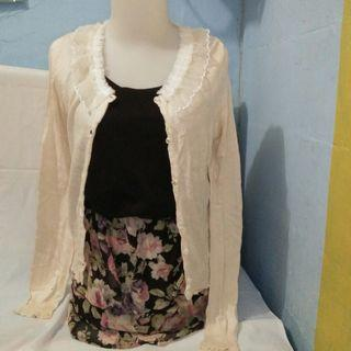Set Floral Inner + Cardigan