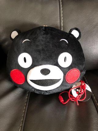 日本熊本熊 Kumamon 啪啪鈕手袋 立體毛絨 正版