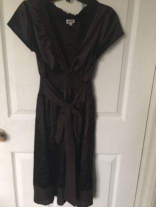 Brown tie up dress