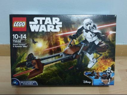 Lego 75532 Scout trooper and speeder bike buildable figure- - brand new