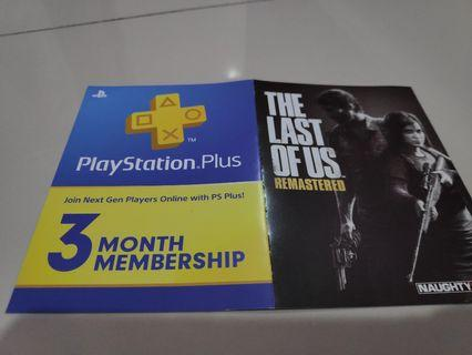 3 month PlayStation Plus subscription + the last of us remastered digital download