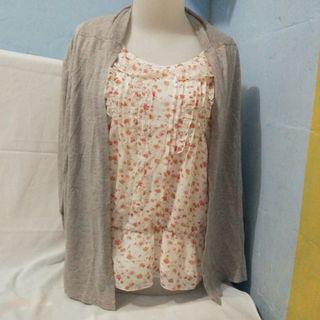 Set Flower Blouse + cardi grey / abu abu