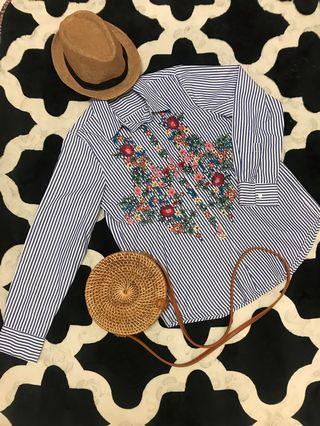 Shirt with Embroidery Flower