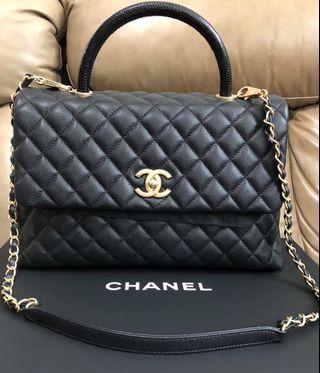 Chanel Lizard coco handle M bag (100% real, 99% new)