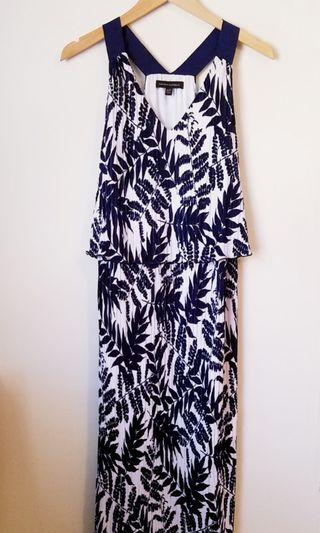 Long Navy and White Floral Print Dress