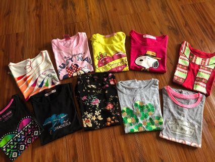 Bundle of 10 cute t-shirts for girls