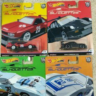 Hot wheels Silhouettes 4 cars set - car culture - porsche / nissan skyline