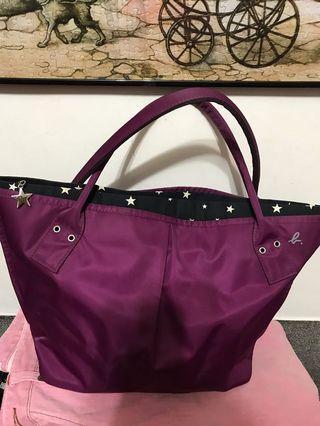 agnes b  暗紫紅星星托特包,9成新,日本製大款,31*28*14*公分