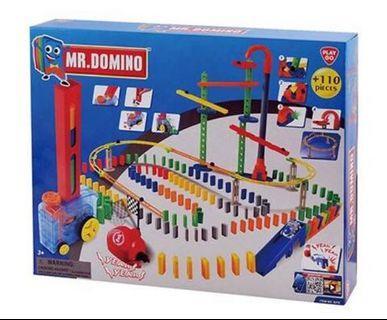 電動骨牌滾珠遊戲 電動骨排車連路軌 Playgo Battery Operated Mr Domino 110 pieces